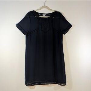 H&M Dresses - H&M Navy Sheer Rayon Short Sleeve Tunic Dress